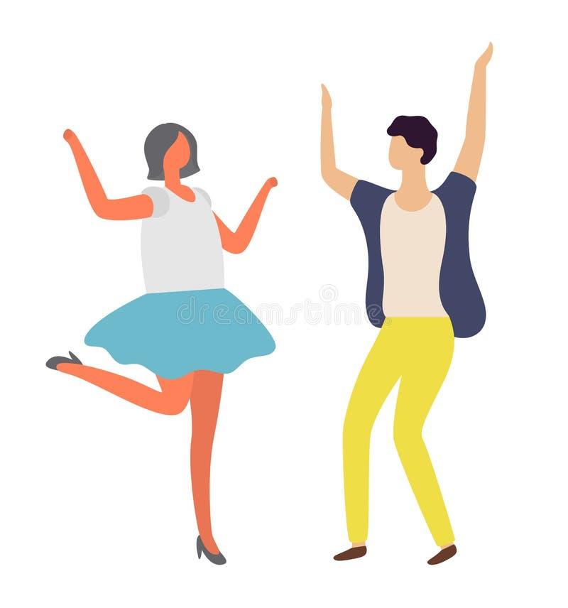 跳舞的男人和妇女,迪斯科聚会,舞蹈家传染媒介 库存例证