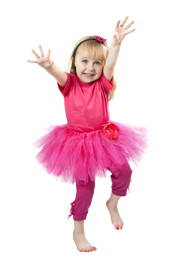 跳舞的礼服女孩少许桃红色工作室 库存照片