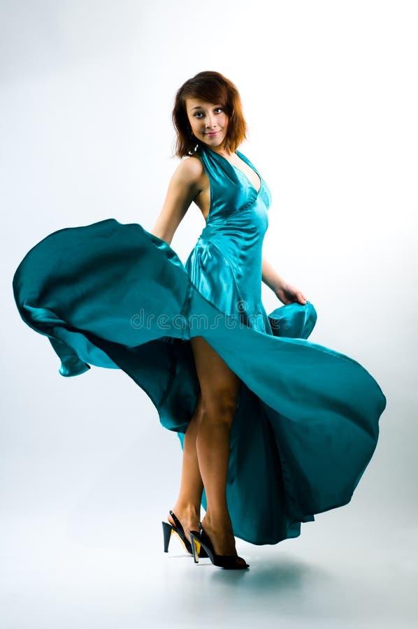 跳舞的礼服女孩 库存照片