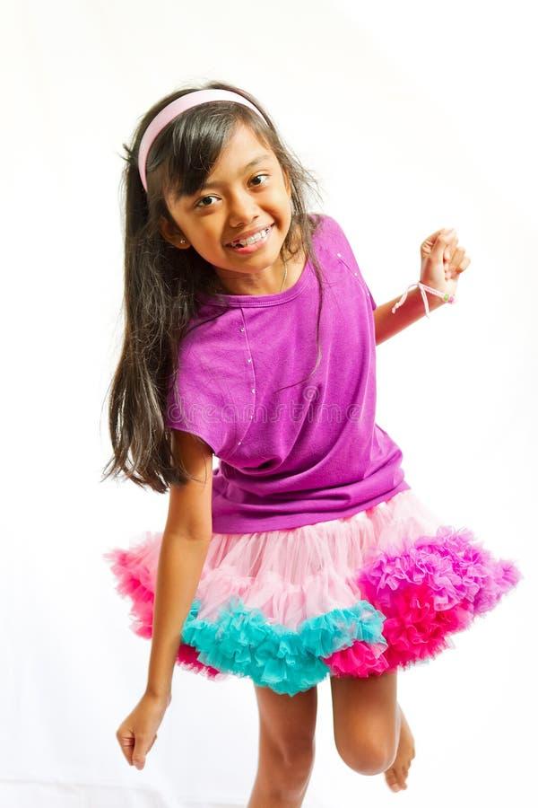 跳舞的种族女孩一点 库存照片