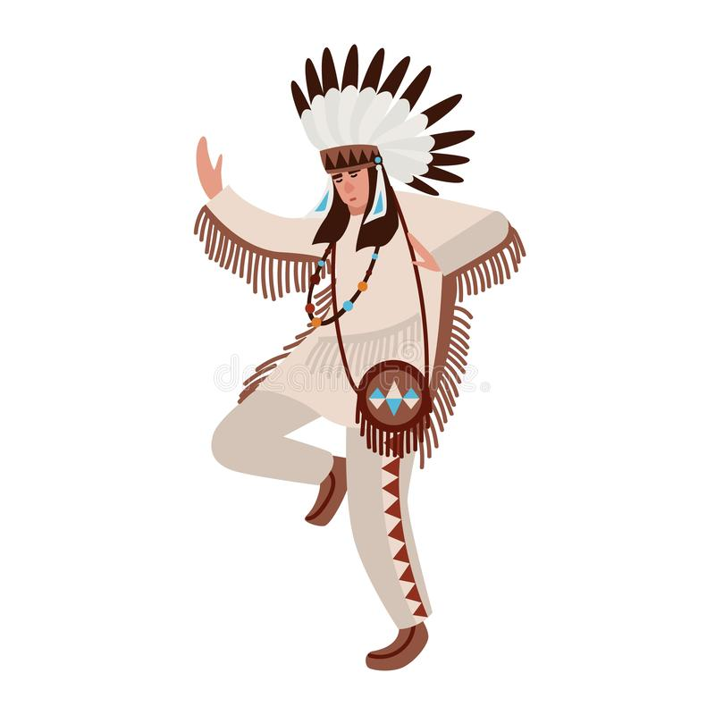 跳舞的美洲印第安人佩带的民族服装和战争帽子 供以人员执行土著人民部族舞蹈  向量例证