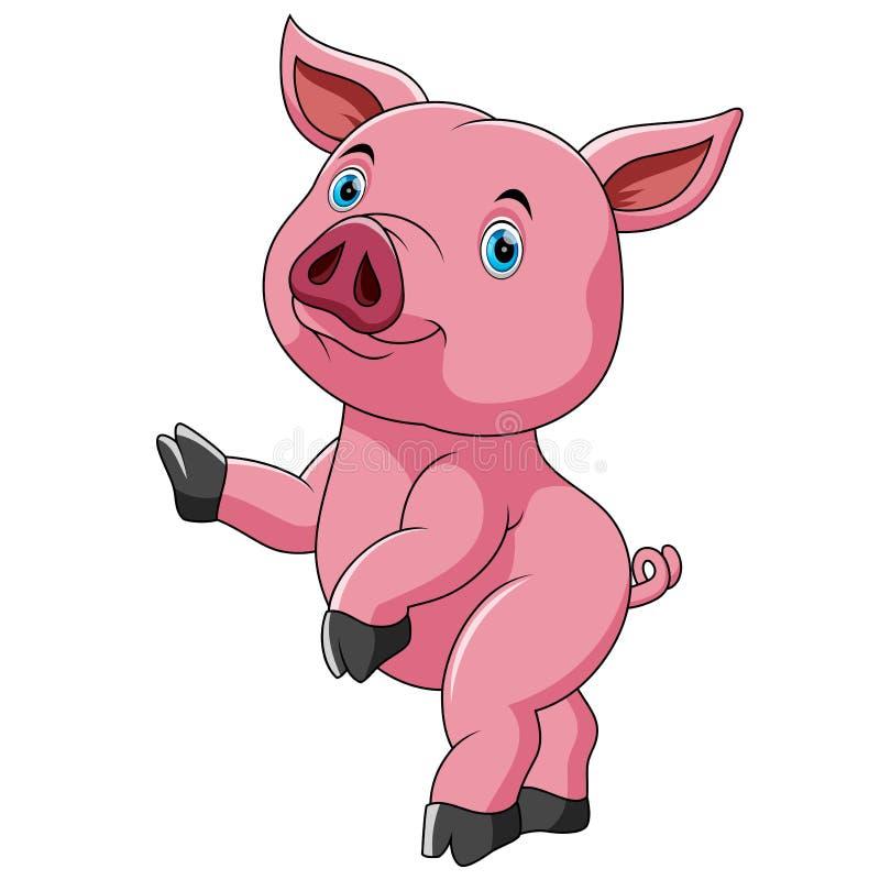 跳舞的逗人喜爱的逗人喜爱的猪动画片 皇族释放例证