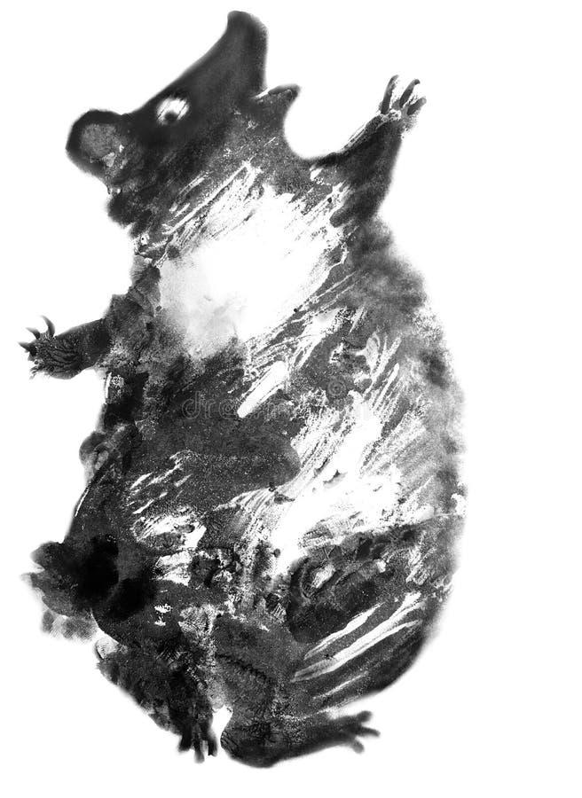 跳舞的黑熊狂放的自然哄骗例证或卡片 免版税库存图片