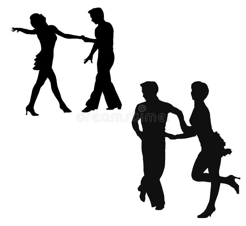 跳舞的jive人现出轮廓妇女 皇族释放例证
