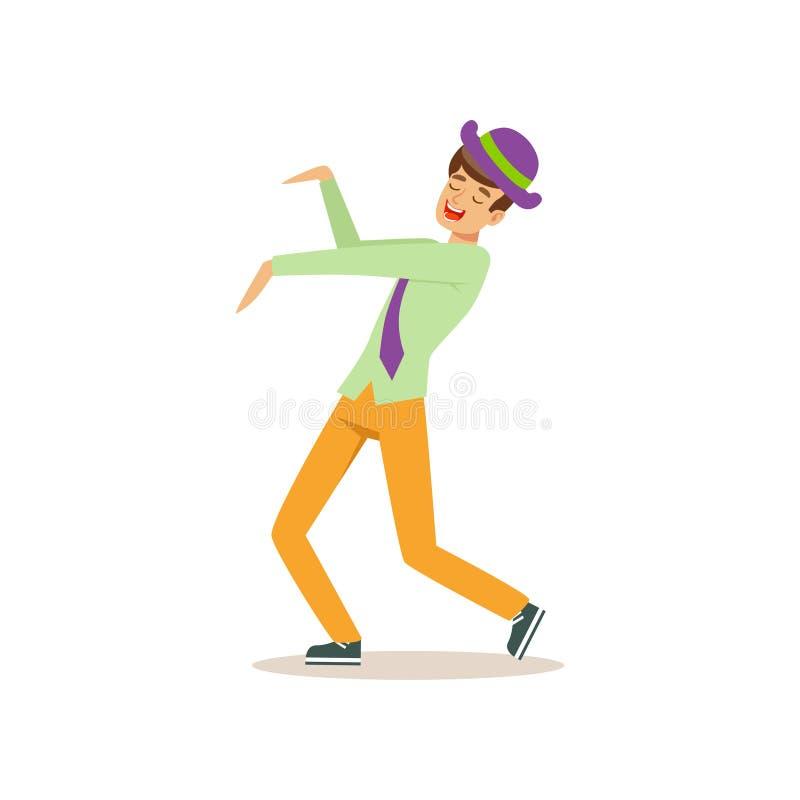 跳舞移动的年轻人 党生活方式 获得的人在舞池上的乐趣 动画片男性角色 被隔绝的平的传染媒介 向量例证
