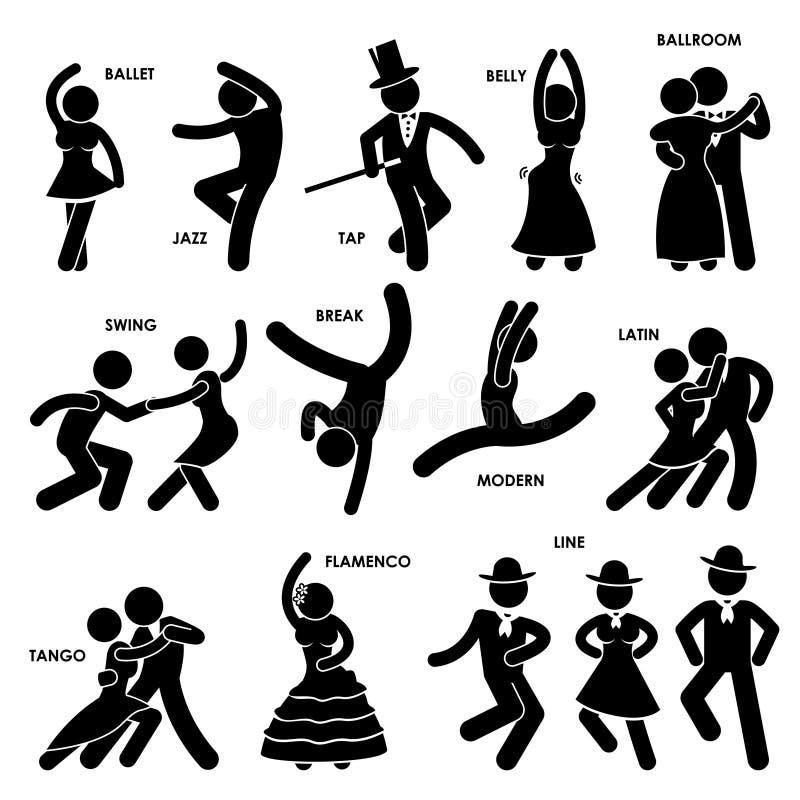 跳舞舞蹈演员图表 向量例证