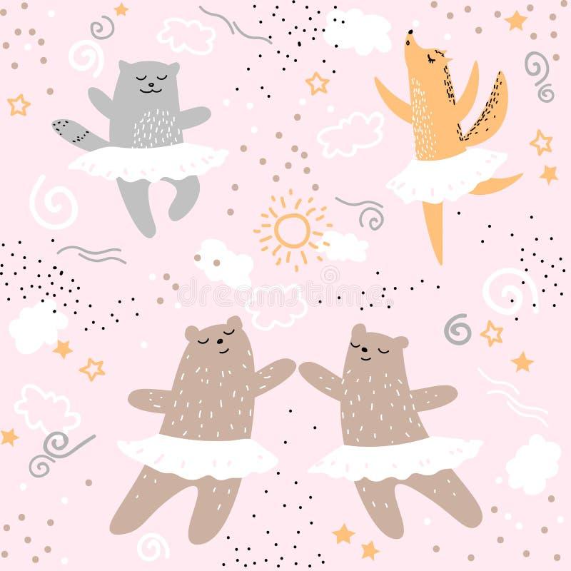 跳舞芭蕾无缝的样式的森林动物 逗人喜爱的动画片狂放的自然儿童孩子负担狐狸猫手图画 向量例证