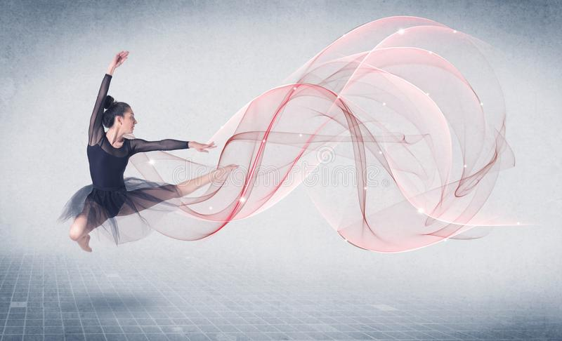 跳舞芭蕾有抽象漩涡的表现艺术家 免版税库存图片