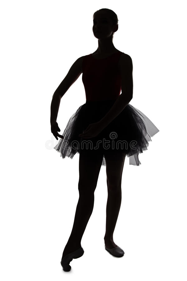 年轻跳舞芭蕾舞女演员剪影  免版税库存图片