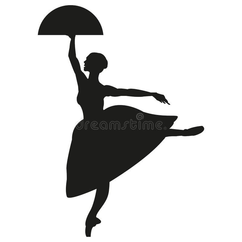 跳舞芭蕾舞女演员的剪影 被隔绝的背景,白色 剪影,传染媒介雍容 向量例证