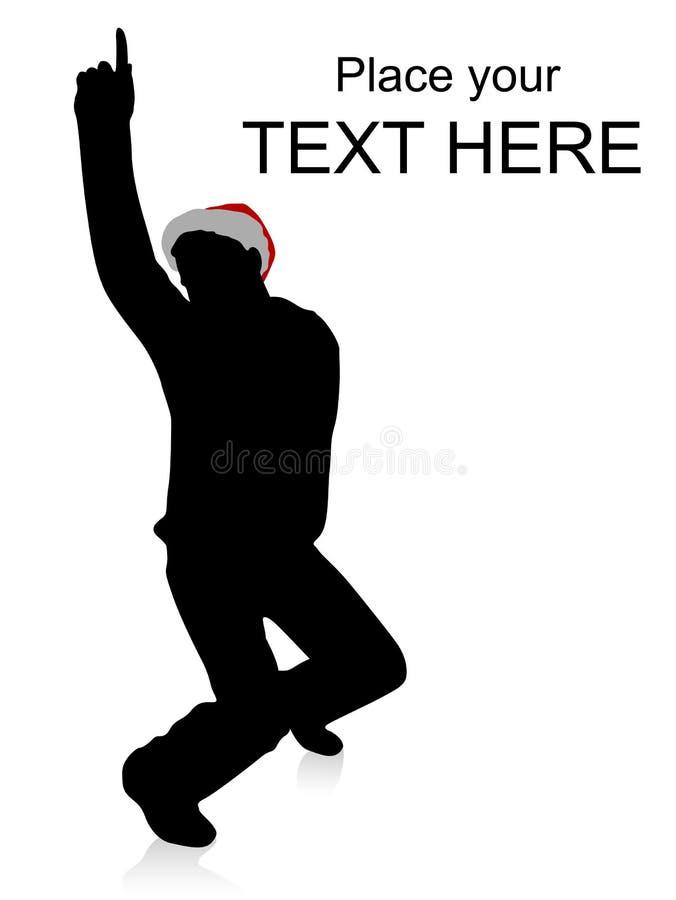 跳舞英俊帽子人佩带的圣诞节 库存例证