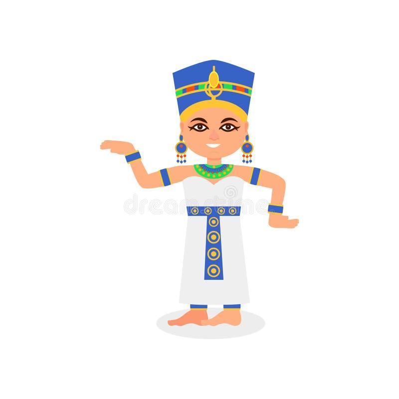 跳舞行动的微笑的埃及妇女 古老埃及女王/王后 在传统服装的动画片女性角色 平面 库存例证