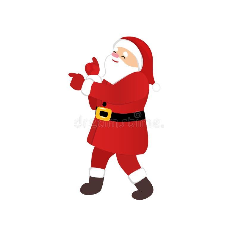 跳舞迪斯科动画片滑稽的字符的圣诞老人项目 向量例证