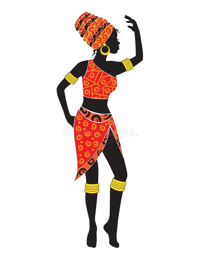 跳舞非洲妇女剪影  库存例证