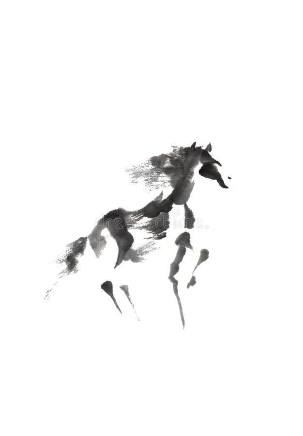 跳舞马日本式原始的sumi-e墨水绘画 免版税库存照片