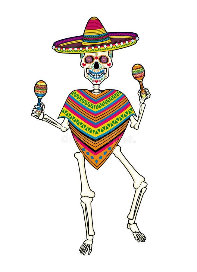 跳舞骨骼为死者的墨西哥天 库存例证