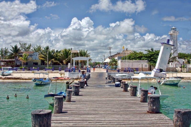 从跳船的Puerto莫雷洛斯州 免版税图库摄影