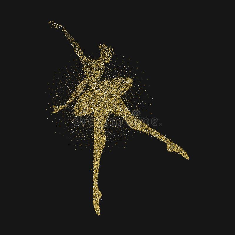 跳芭蕾舞者女孩剪影金子闪烁飞溅 皇族释放例证