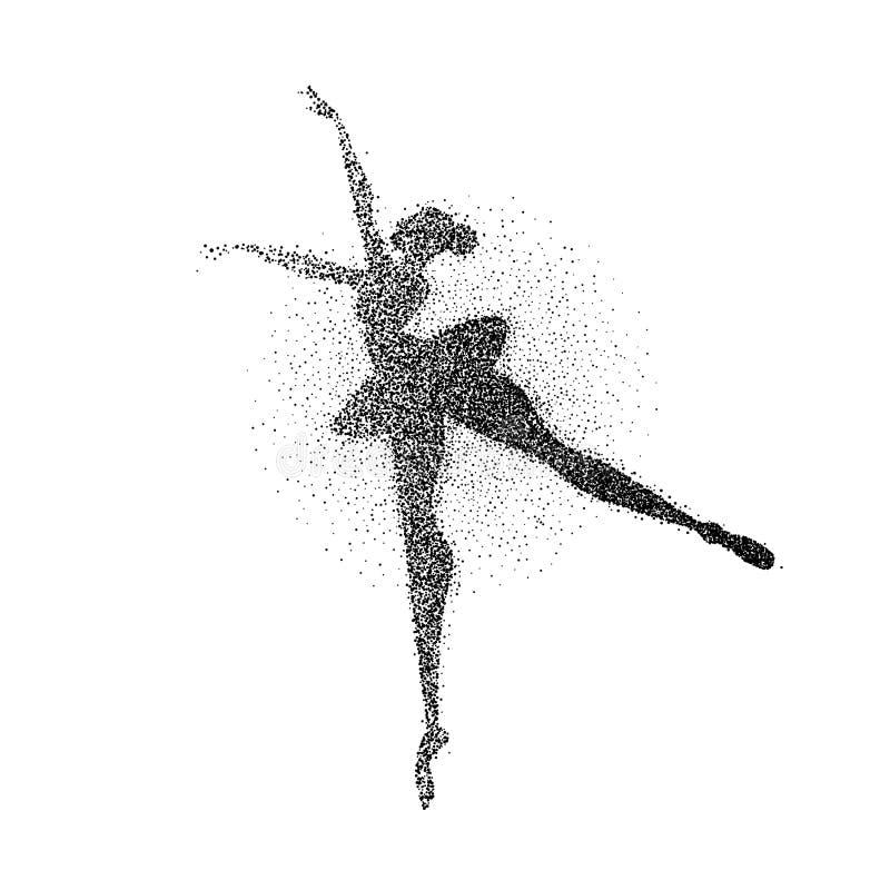 跳芭蕾舞者女孩微粒飞溅剪影 皇族释放例证