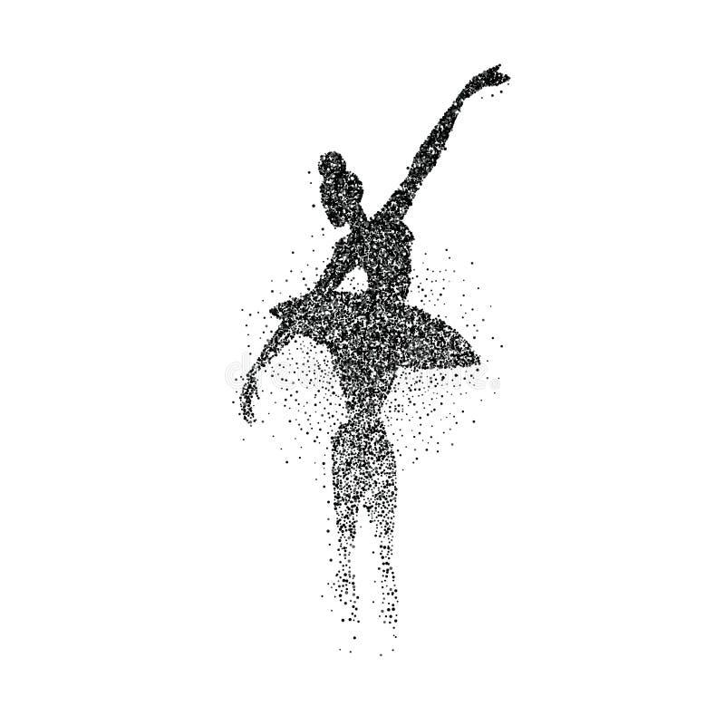 跳芭蕾舞者女孩微粒飞溅剪影 库存例证