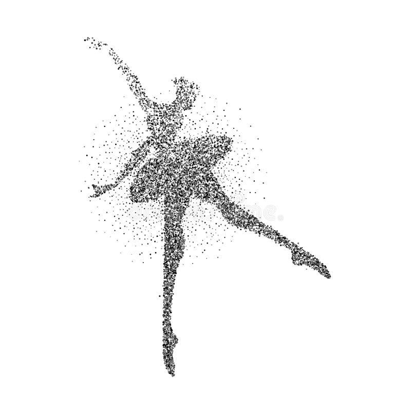 跳芭蕾舞者女孩微粒飞溅剪影 向量例证
