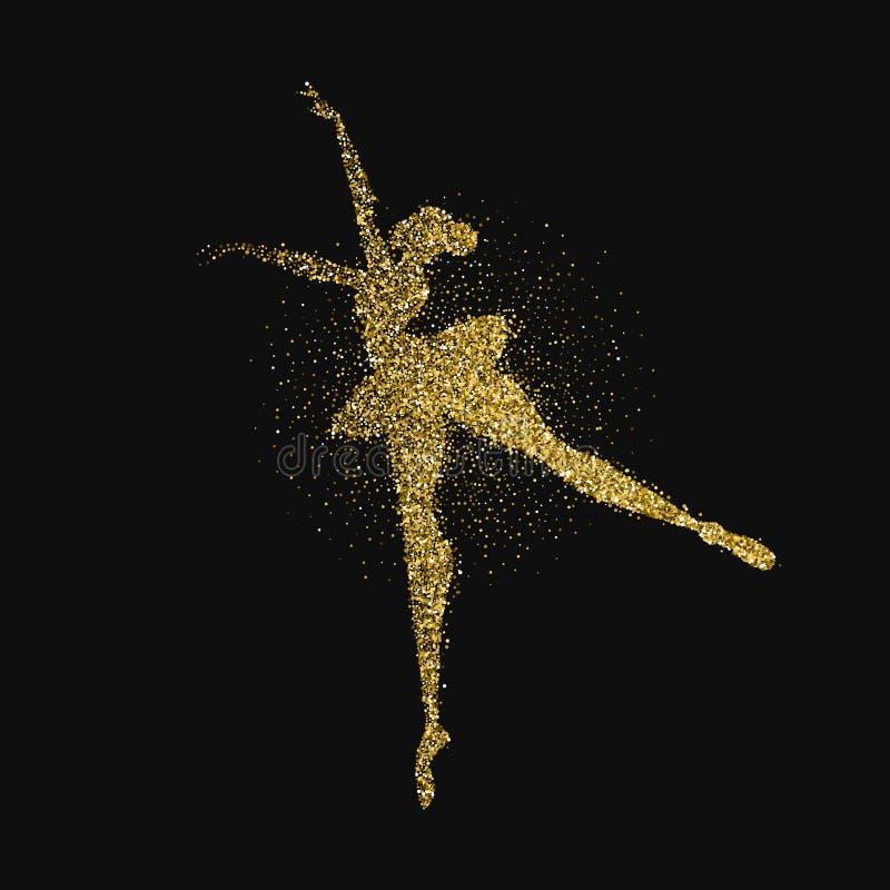 跳芭蕾舞者女孩金子闪烁飞溅背景 库存例证