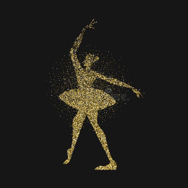 跳芭蕾舞者女孩金子闪烁飞溅背景 向量例证