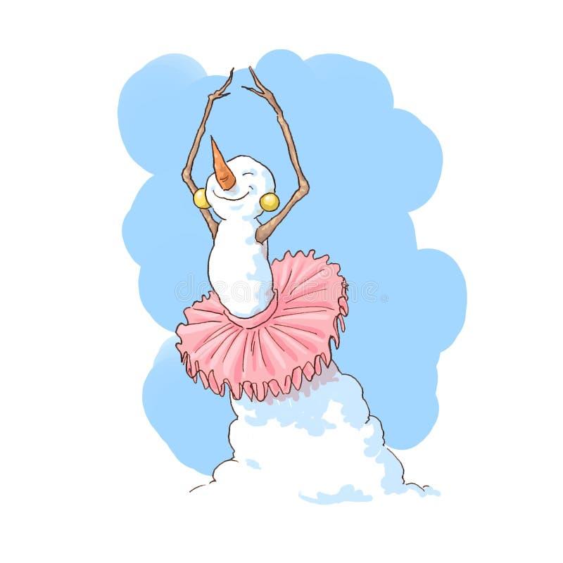 跳芭蕾舞者雪人 免版税图库摄影