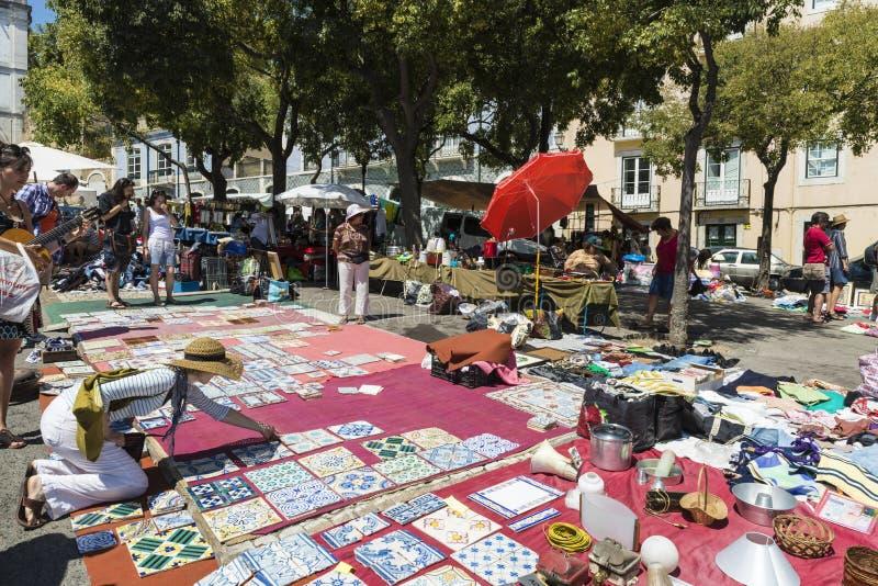 跳蚤市场,费拉Da Ladra,里斯本 图库摄影