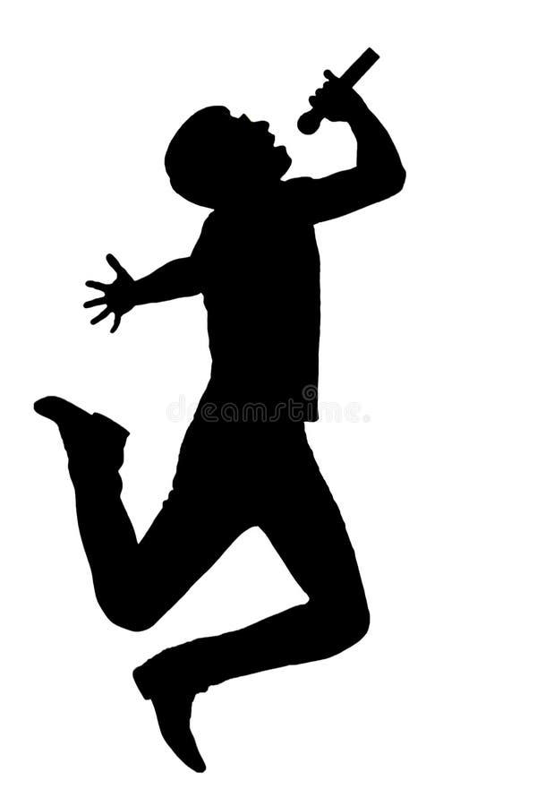 跳跃与话筒的一个人的剪影 向量例证