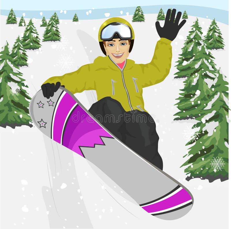 跳跃与雪板的愉快的年轻人在滑雪胜地 皇族释放例证