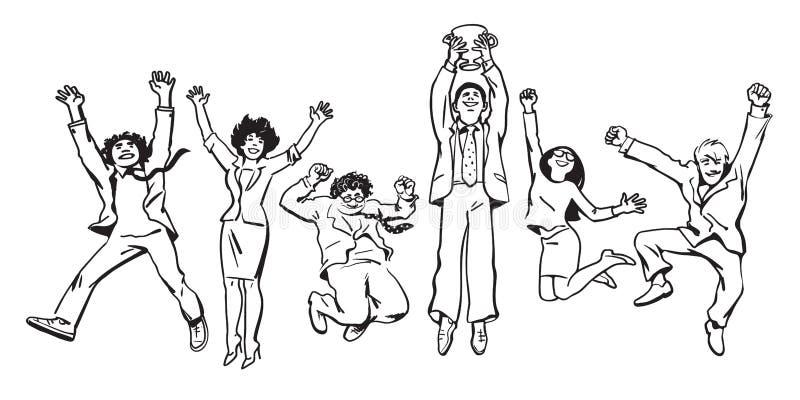 跳跃为喜悦的企业队阻止赢取的杯子 向量 向量例证