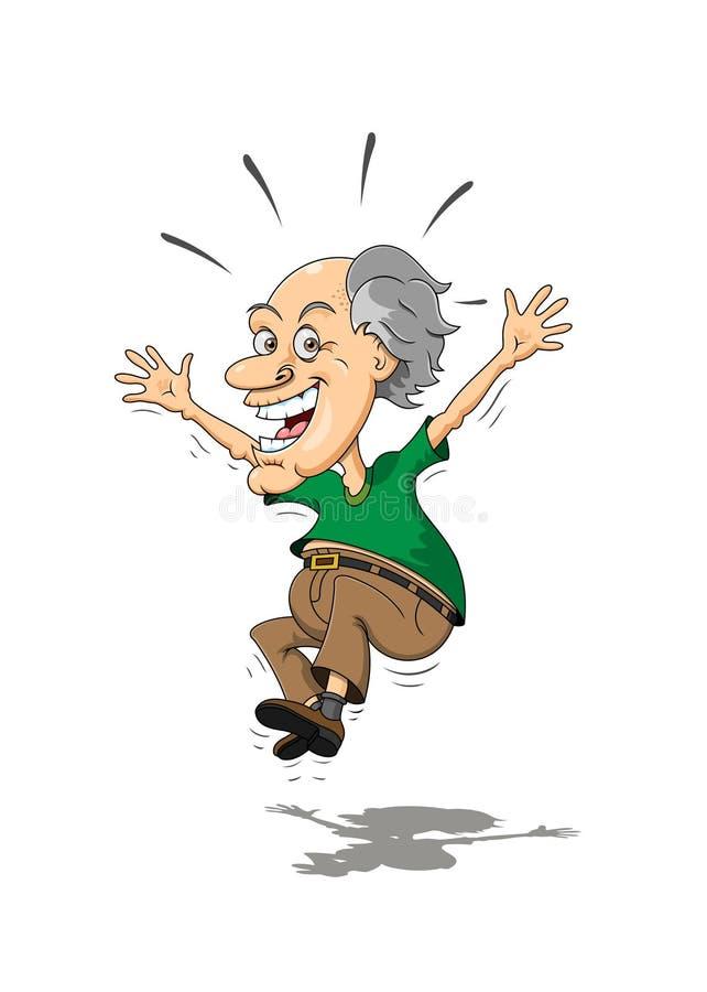 跳跃为喜悦的年长人 免版税库存照片