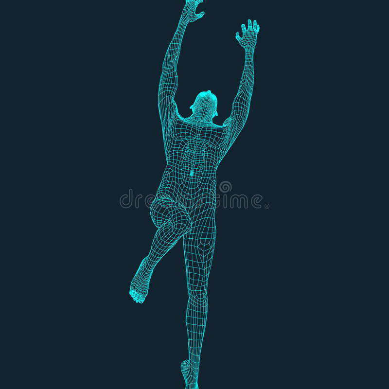 跳跃人 多角形设计 3D人模型  设计几何 企业、科学技术传染媒介例证 皇族释放例证