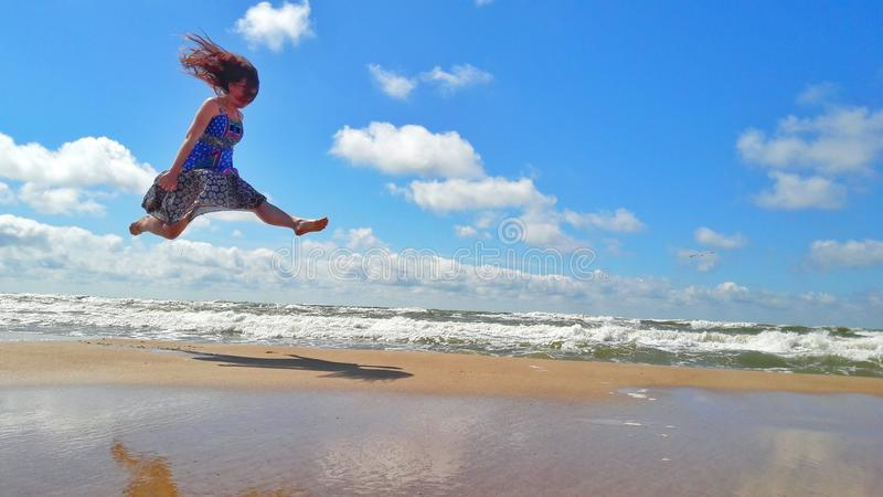 跳跃作梦 库存图片