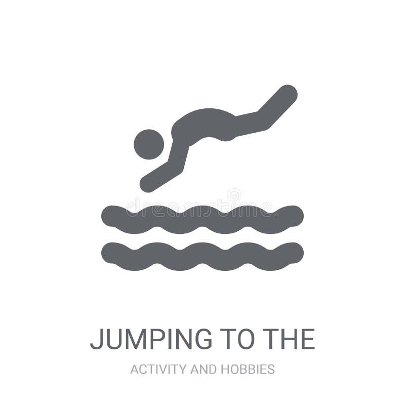 跳跃到水象 时髦跳跃到浓缩水的商标 皇族释放例证
