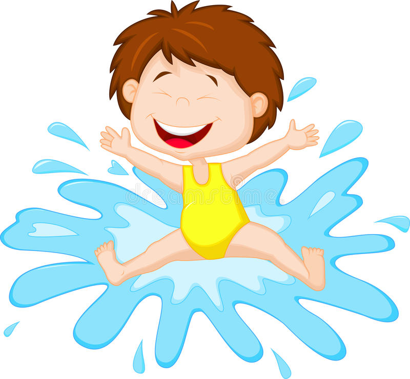 跳跃到水的动画片女孩 向量例证