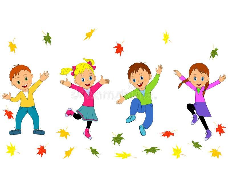 跳跃和摇他们的手的孩子、男孩和女孩 向量例证