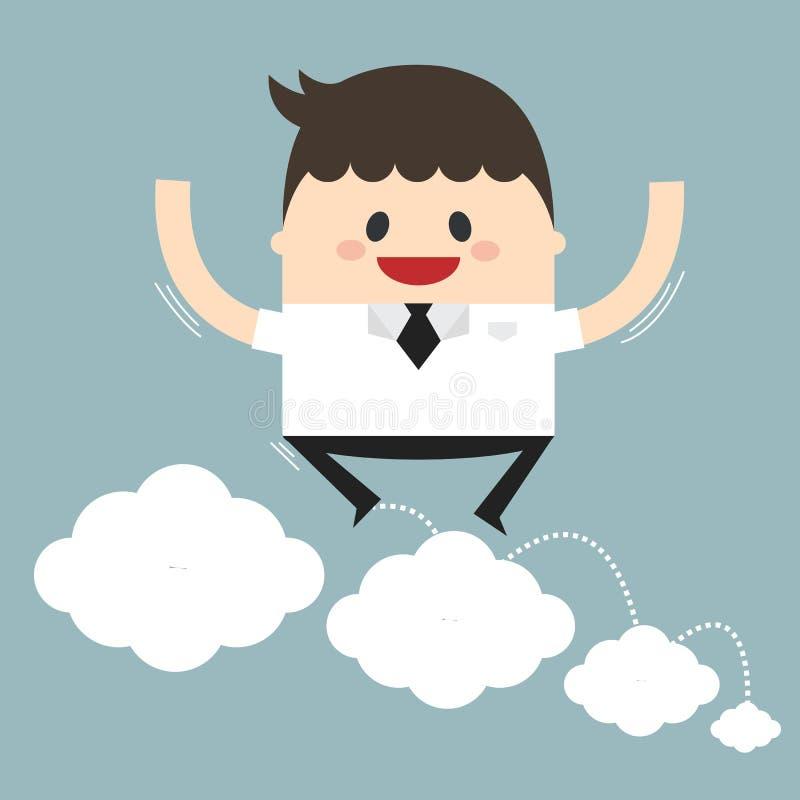 跳跃在云彩的商人的传染媒介例证 平的desig 库存例证