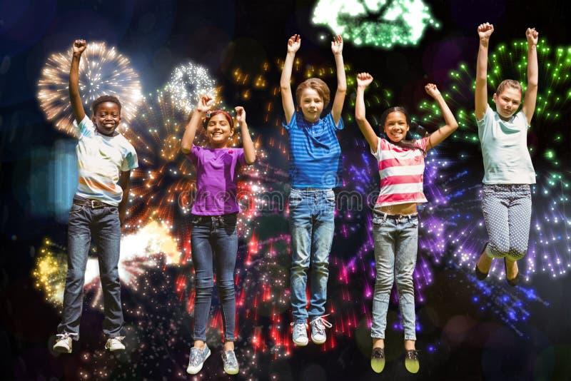 跳跃在公园的孩子的综合图象 库存图片