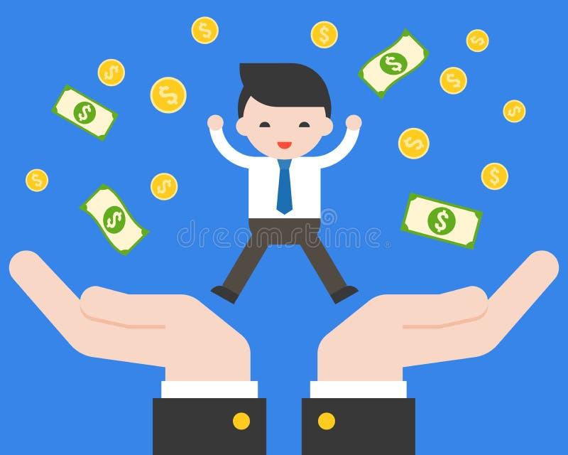 跳跃在有美元钞票的支持手上的逗人喜爱的企业手 皇族释放例证