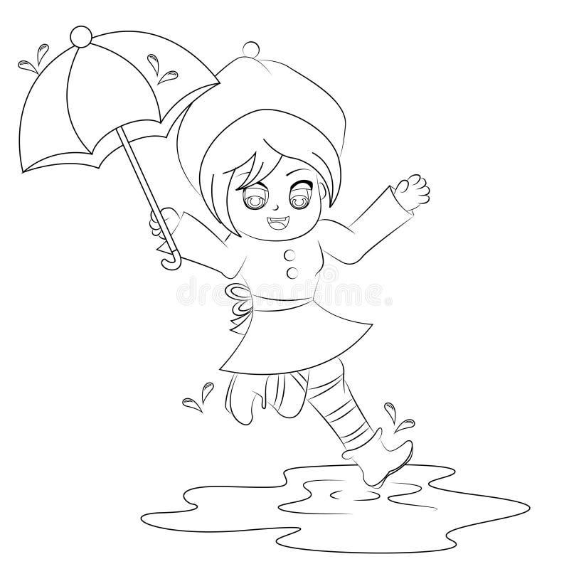 跳跃在水坑着色页的动画片女孩 库存图片