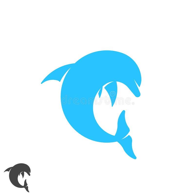 跳跃在波浪上的海豚商标圆形海生动物 温泉,体育,手段,旅游业,旅行,潜水的俱乐部身分象征 库存例证