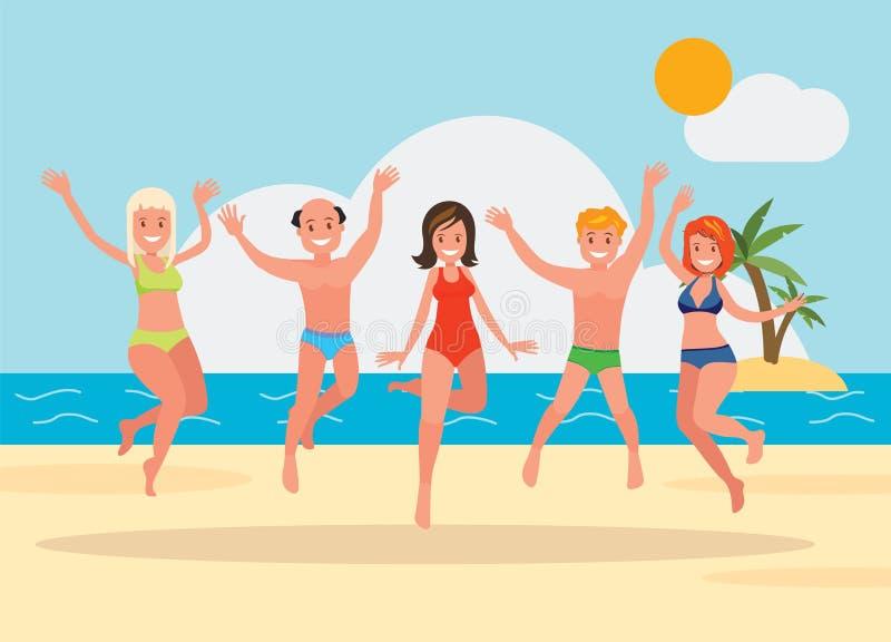 跳跃在海滩背景的愉快的小组青年人 库存例证