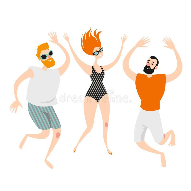 跳跃在游泳衣和短裤的海滩的三个滑稽的漫画人物 在海滩的年轻男孩和女孩跳舞集会 向量例证