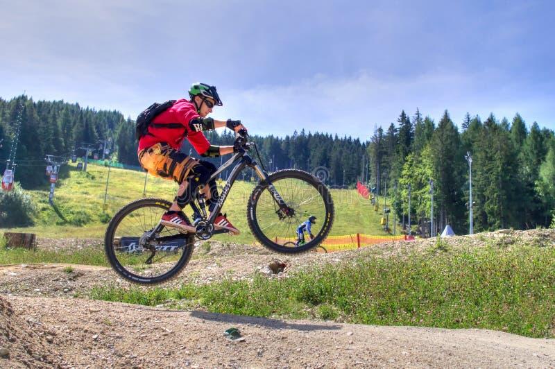 跳跃在登山车种族期间的下坡自行车车手 库存图片