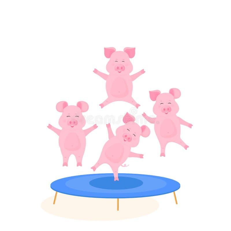 跳跃在绷床的滑稽的猪 逗人喜爱贪心获得乐趣 向量例证