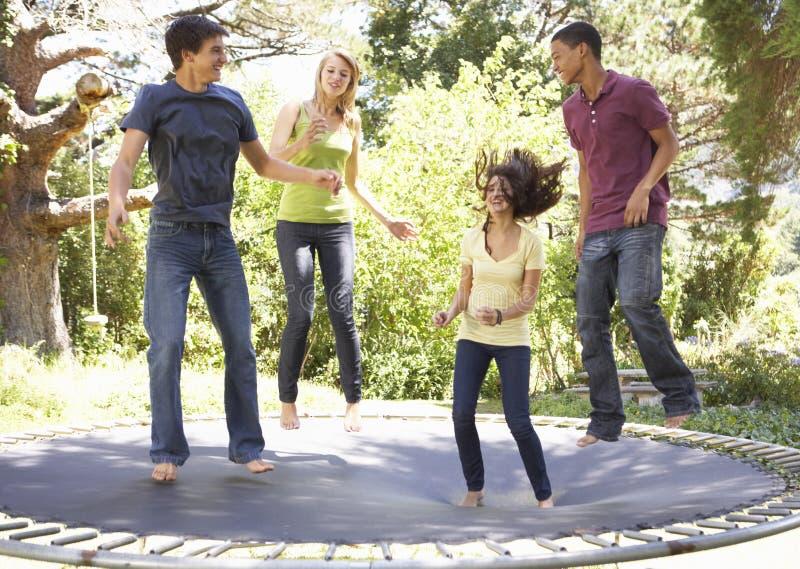 跳跃在绷床的四个少年朋友在庭院里 图库摄影