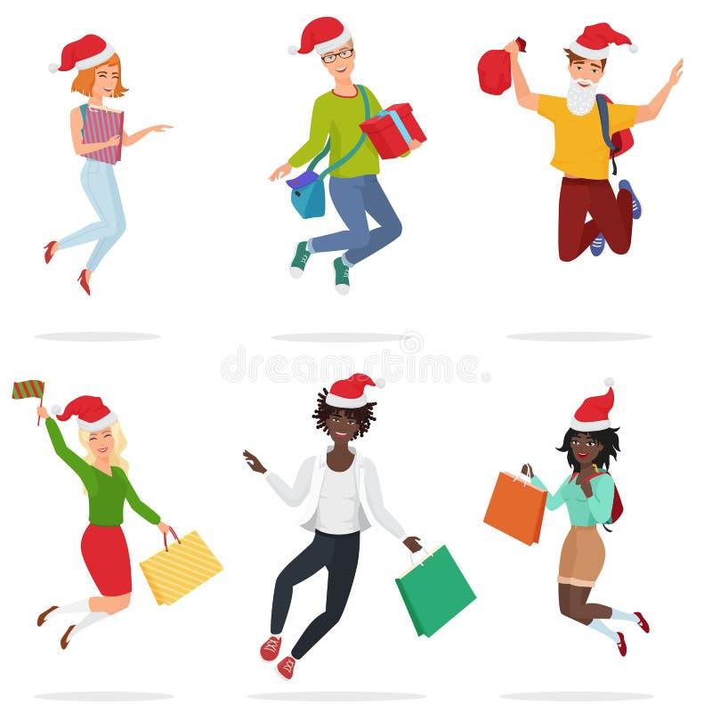 跳跃套愉快的年轻多道德的人民,跳舞与礼物盒和圣诞节帽子 愉快的圣诞节日 库存例证