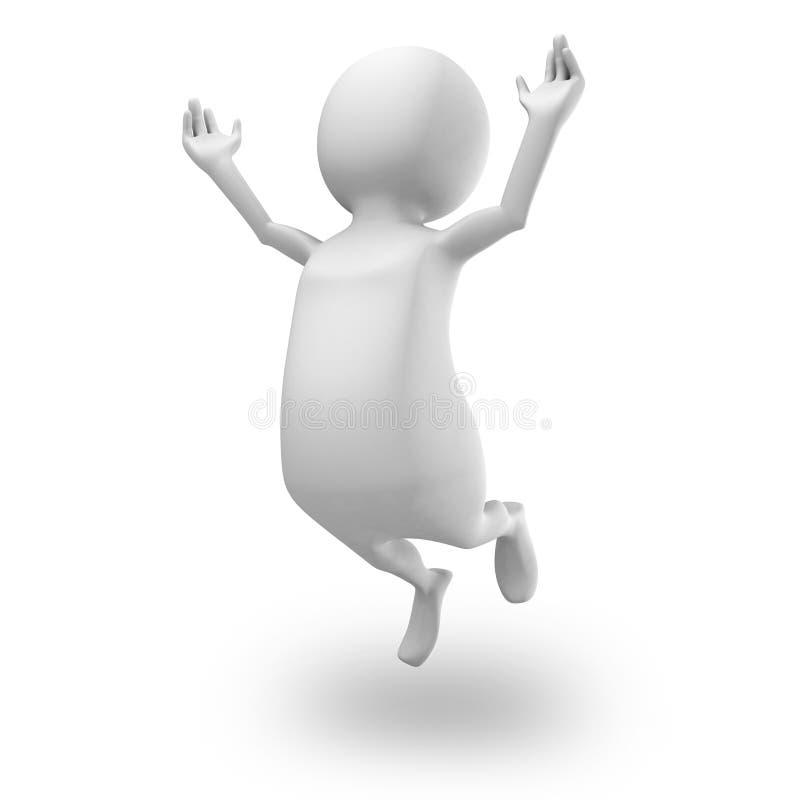跳跃愉快的白色3d的人  Succecss概念 向量例证